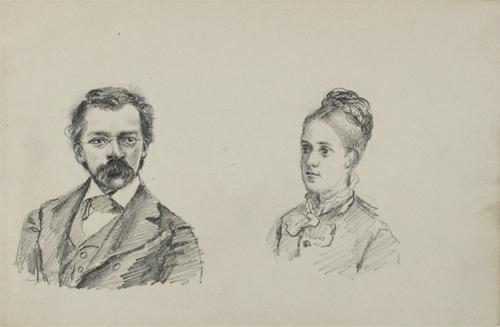 Woldemar Bargiel(クララ異父弟、ロベルト義弟)とその妻 Hermine